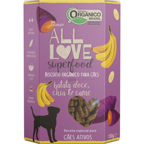 Biscoito Orgânico All Love Superfood Batata Doce, Chia e Carne